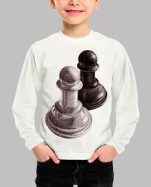 ajedrez blanco y negro peones niños camiseta