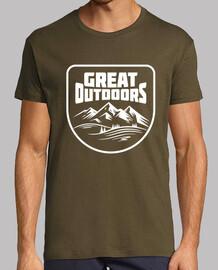 Al aire libre gran aventura comienza - camiseta para acampar o  senderista