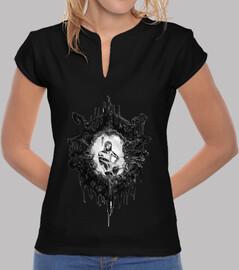 Alcyone - Tee shirt femme, col mao, noir