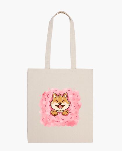 Bolsa algodón bolso de mano de shiba inu caramelo