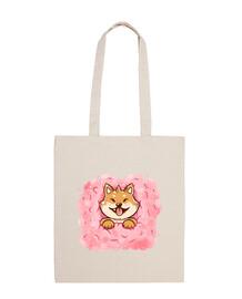 algodón bolso de mano de shiba inu caramelo