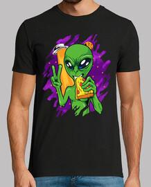 alien eats pizza on halloween