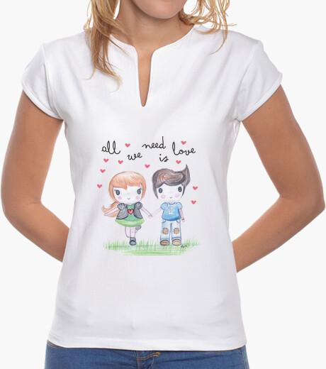 Tee-shirt all vous avez besoin est femme amour-, col mao, blanc