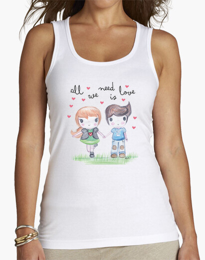 Camiseta All you need is love-  Mujer, sin mangas, blanca