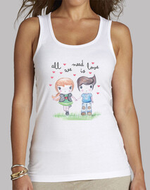All you need is love-  Mujer, sin mangas, blanca