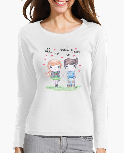 Camiseta All you need is love- manga larga, blanco