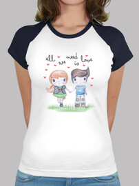 All you need is love- Mujer, estilo béisbol, blanca y azul marino