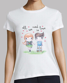 All you need is love- Mujer, manga corta, blanca, calidad premium