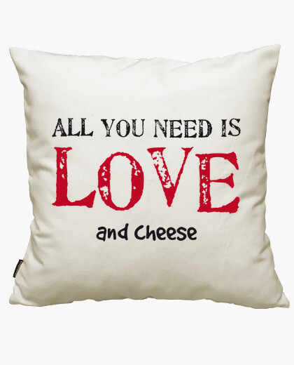 Funda cojín all you need is LOVE... and cheese