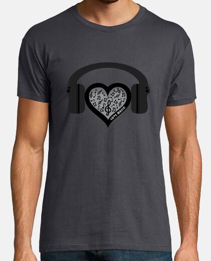 ama la musica del ritmo cardiaco battere maglietta mens