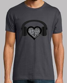amantes de la música del ritmo cardíaco venció camiseta para hombre