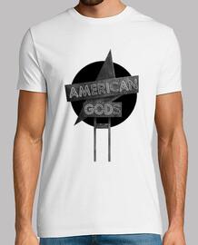American Gods - Blanco y Negro - Hombre, manga corta, blanco, calidad extra