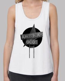 American Gods - Blanco y Negro - Mujer, tirantes anchos & Loose Fit, blanca