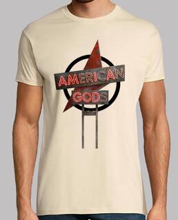 American Gods - Hombre, manga corta, crema, calidad extra