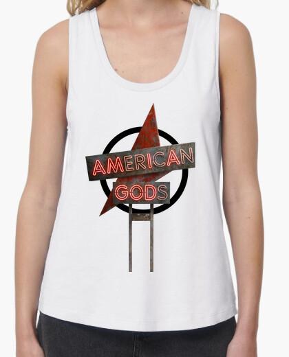 Camiseta American Gods - Mujer, tirantes anchos & Loose Fit, blanca