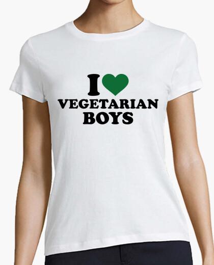 Camiseta amo a muchachos vegetarianas