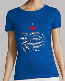 amo le balene t-shirt