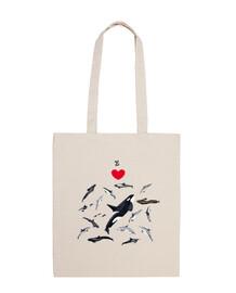 Amo los delfines bolsa tela