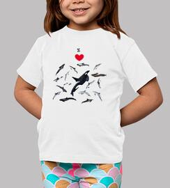 Amo los delfines camiseta
