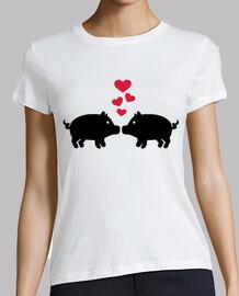 amor del cerdo corazones rojos