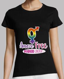 Amor free! Mujer, manga corta, negra, calidad premium