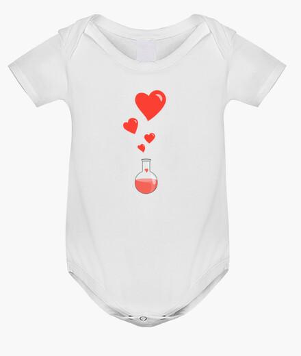 Ropa infantil amor matraz química del friki de los corazones blancos