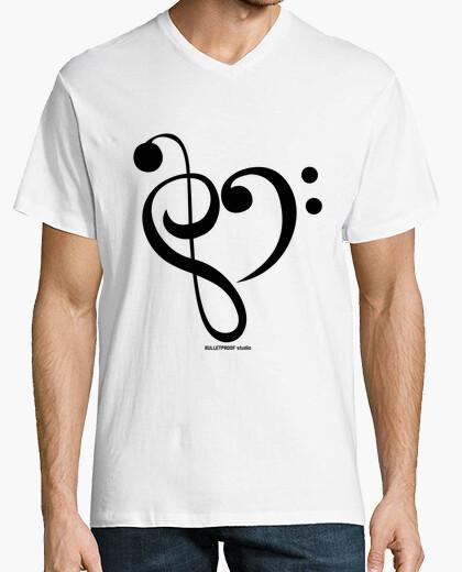 T-shirt amore re mi / collo a V sopra