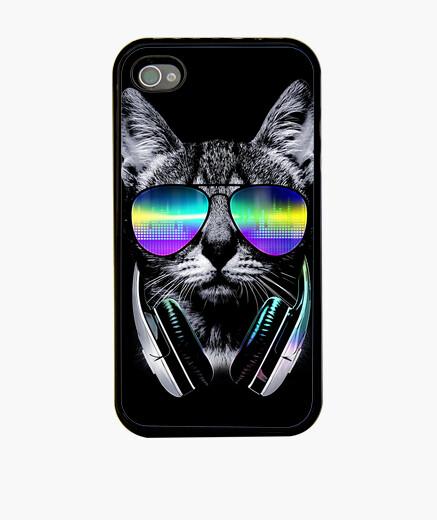 Coque iPhone amoureux de la musique chat
