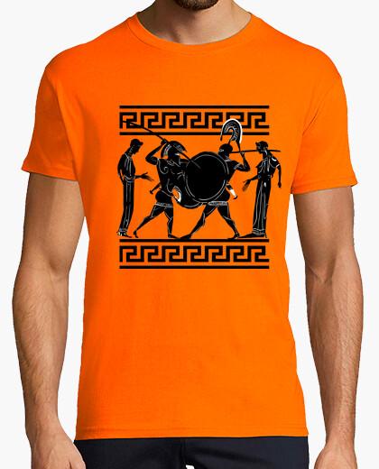 Camiseta Ánfora griega antigua, guerreros luchando
