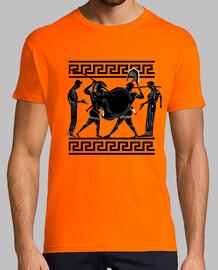 Ánfora griega antigua, guerreros luchando
