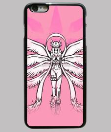 ángel de la pintada de la caja del teléfono de luz