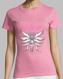 ángel de la pintada de la luz camisa de la mujer