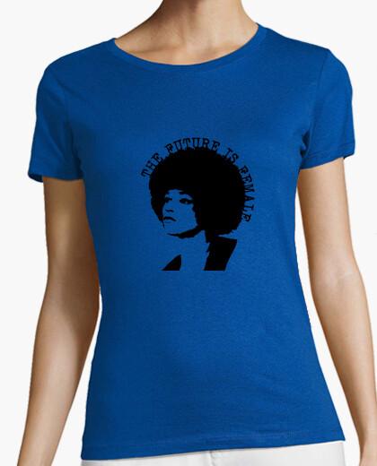 Camiseta Angela Davis Mujer, manga corta, naranja, calidad premium
