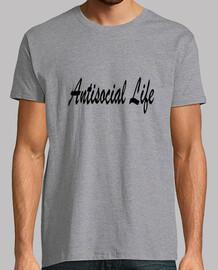 Antisocial Life. Hombre, manga corta, gris vigoré, calidad extra