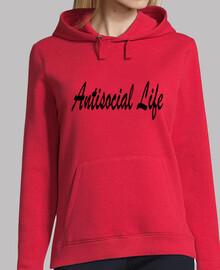 Antisocial Life. Mujer, jersey con capucha, rojo