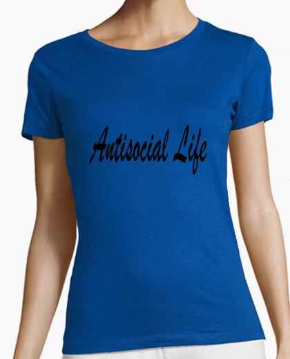Camiseta Antisocial Life. Mujer, manga corta, verde, calidad premium