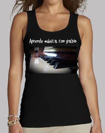 Aprende música con pablo - camiseta mujer, sin mangas, negra