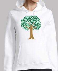 árbol de amor corazones verdes