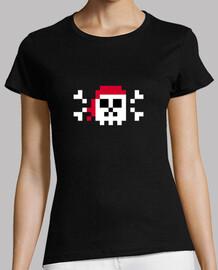 art  tête de mort  de pixel pirate. femme