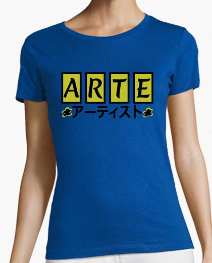 Art in japanese yellow t-shirt