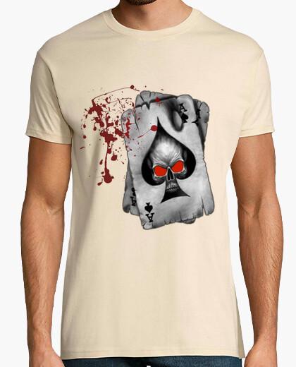 Camiseta As de Picas -Hombre, manga corta, crema, calidad extra