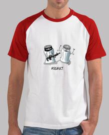 ASSAULT camiseta hombre, estilo béisbol, blanca y roja