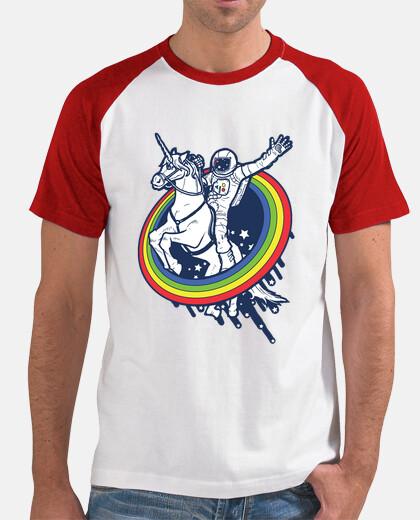 astronauta in sella a un unicorno