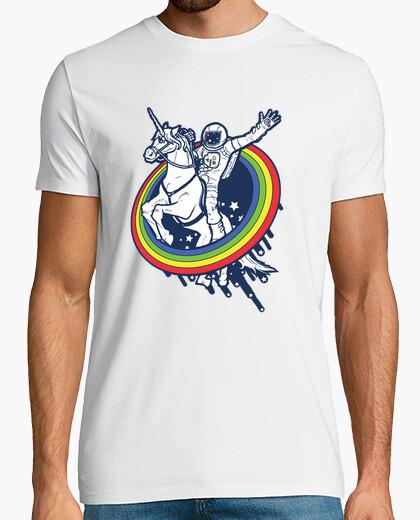 Camiseta astronauta que monta un unicornio