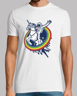 astronauta que monta un unicornio
