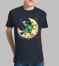 astronaute sur la lune avec avion origa