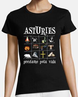 Asturies 2017 fondo oscuro - Camiseta de chica de manga corta