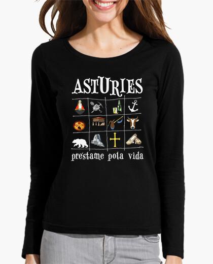 Asturies 2017 fondo oscuro - Camiseta de chica de manga larga