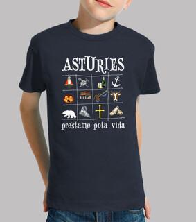 Asturies 2017 fondo oscuro - Camiseta para niño de manga corta
