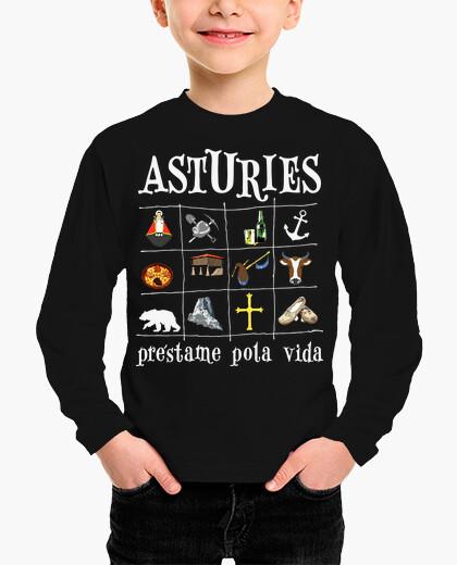 Ropa infantil Asturies 2017 fondo oscuro - Camiseta para niño de manga corta